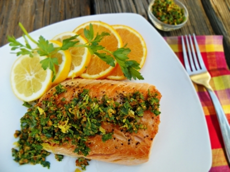 Pan Roasted Salmon in a Citrus Bath with Spicy Pecan Gremolata
