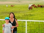 Garrett & I checking out the wild horses.